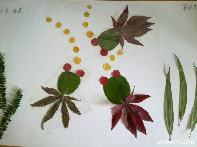 树叶贴画作文400字